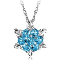 Wholesale frozen jewelry online - 18K Plated Blue Crystal Snowflake Frozen Flower Silver Necklace Pendants With Chain Fashion Jewelry Easter Chirstmas Thanksgiving Day