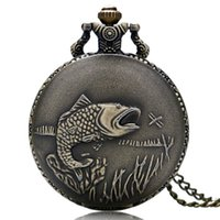 Wholesale vintage watch fob chain - New Bronze Vintage Pocket Watch Necklace Chain Pendant Fishing Angling Full Hunter Quartz Fob Watch Relogio De Bolso