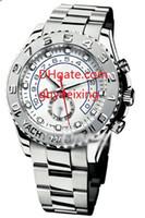 relógios mens mecânica venda por atacado-Novos Mens relógios 44 mm Yacht Master II 116689 18k ouro branco safira mostrador branco Asian 2813 homens de aço inoxidável mecânico automático assistir