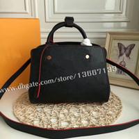 çanta siyah tutacakları toptan satış-Ücretsiz Kargo Hakiki Deri MONTAIGNE Çanta Siyah Kolu Tote m41053 Kadınlar Moda Marka Omuz Çantası Çanta m41048