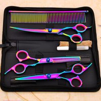 Wholesale hair cutting blades - Pet Dog Cat Grooming Scissors Set Clippers Cutting Thinning Curved Straight Shears Fur Hair Shaver Set Puppy Fur Trimmer Tool AAA392