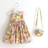 Wholesale Cream Girl Dresses - Girls princess outfits children printed cotton pineapple rose ice-cream sleeveless pleated dress+bag 2pcs sets kids fashion clothing