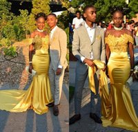 robe de sirène en soie satin achat en gros de-Robes de bal sirène jaune 2018 filles noires en satin de soie longues robes de bal robes de soirée robes de soirée