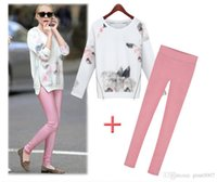 Wholesale Twinset Pearls - white twinset t shirt women flower pants tight sexy summer long sleeve