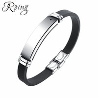 Discount fashion magnetic therapy bracelet - Roing Fashion Silicone Adjustable Men ID Bracelet Healthy Energy Black Stone Stainless Steel Magnetic Therapy Bangle RO1276