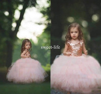 Wholesale white rose birthday for sale - Group buy 2018 Communion Dress Rose Gold Sequins Blush Tulle Ball Gown Flower Girls Dresses Cap Sleeve Puffy Little Girl Formal Wedding Party Dress