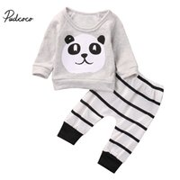 Wholesale Bebe T Shirts - pudcoco New born Infant Baby Boy Girl cute panda printed Long Sleeve T-shirt+striped Pants bebe kids cotton Outfit Clothes set