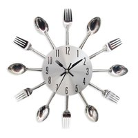 Wholesale kitchen clocks spoons resale online - Creative Spoon and Fork Stainless Wheel Wall Clock Silent Quartz Kitchen Decorative Hanging Watch Home Wall Decor Silver Inch