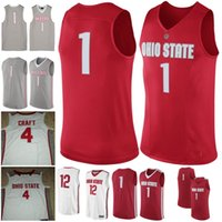 Wholesale craft numbers - Ohio State Buckeyes NCAA College Basketball 0 DAngelo Russell 4 Aaron Craft red white gray Stitched Custom Any Name Number Jersey