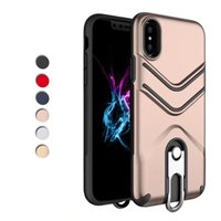 Wholesale Iphone Back Covers Unique - Defender Hybrid Stand Hard Case for iPhone X 8 7 Plus PC TPU Back Cover Buckle Unique Shell for iPhoneX iPhone8