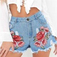 Wholesale Wholesale Embroidered Jeans - Fashion Women Summer High Waist Embroider Denim Short Ripped Jeans Short Casual Shorts Size S-XXL