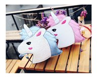 bolso de color azul al por mayor-2 colores Pink Blue Unicorn Bolsas de hombro para niños Female Diagonal Bag Cute Purse Mini bolso de mujer Carteras personalidad Girls Monedero