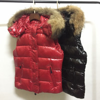 coletes reais de peles para mulheres venda por atacado-M365 senhoras mulheres inverno Corpo Mais Quente guaxinim real guelras de pele colete Reino Unido popular gilets Jacket Quente para baixo anorak colete parka jaqueta tamanho China