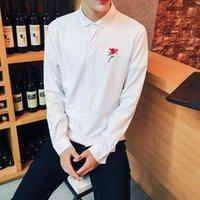 ingrosso camicia floreale dei ragazzi all'ingrosso-Camicie da uomo coreane all'ingrosso slim fit ricamo floreale nero bianco manica lunga camicia uomo casual ragazzi montati camicia maschile 5XL chemise homme