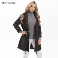 Wholesale Women S Trench Coat Pattern - Wholesale- MS VASSA new Women trench Spring ladies happy size fashionable coat slim trench coat with special pattern snap plus size S-7XL