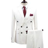 ingrosso migliori vestiti per il prom-Slim Fit Uomo Bianco Abiti da sposo sposo Smoking 2 pezzi (giacca + pantaloni) sposo sposo Best Business Prom giacca sportiva