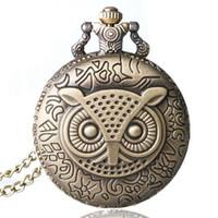 relojes del búho al por mayor-Bronce de cobre Vintage Retro Owl patrón de reloj de bolsillo de cuarzo reloj hora collar con cadena hombres mujeres regalos