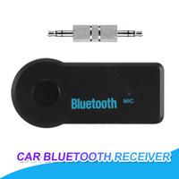 ingrosso kit di musica per auto iphone-Kit da auto Bluetooth universale da 3,5 mm A2DP Wireless AUX Audio Music Receiver Adattatore per trasmettitore FM Vivavoce Chiamata con microfono per iPhone MP3