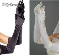 ingrosso guanti di sera lunghezza gomito nero-Guanti lunghi neri in raso Lunghezza gomito Guanti da sposa donna Dita Guanti da sposa colorati Danza in raso per accessori da sera