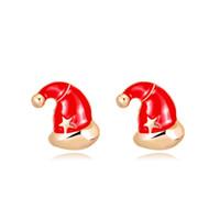 украшения из красной звезды оптовых-Новый красный Рождество шляпа серьги сплава эмали шпильки Золотая Звезда рождественские украшения для женщин Леди ювелирные изделия