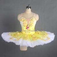 vestido de tutú amarillo para adultos al por mayor-Adulto Azul Clásico Tutú de Baile de Ballet Traje de Bailarina Profesional Vestido de Tutú de Baile Solo Chicas Tutu Personalizadas Tutus B17035 Adulto Amarillo