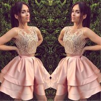 Wholesale pipes pieces resale online - 2018 Short Blush Pink Two Piece Homecoming Dresses A Line Sleeveless Backless Mini Cocktail Dress Prom Party Gowns Custom Lace