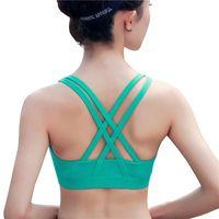 596050f73d176 Professional Sport Bra Top Fitness Gym Women Strappy Vest Seamless Padded Yoga  Bras Training Tank Top Push up Running Underwear