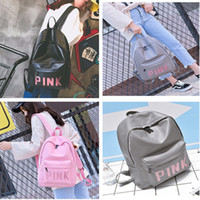 Wholesale 17 Laptop Backpack - Sequins Love Pink Letter Backpack VS Girls Women PU Leather Shoulder Bag Outdoor Sports Travel School Book Bags Laptop Bag Backacks DHL FREE