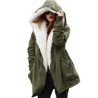 черное длинное пальто оптовых-Зимняя мода Женщины Повседневная толстовка пальто куртка парки длинные траншеи пальто большой черный синий S-2XL