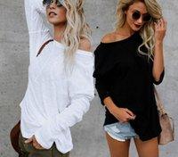 blusa branca de mangas compridas venda por atacado-Pure Color Irregular de Mangas Compridas T-shirt T-shirt das Mulheres Brancas Tops Primavera E No Outono de Moda de Nova Europeu Estirpe Americano Blusas S-XL CS09