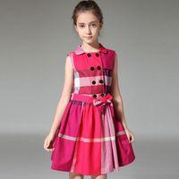 Wholesale Pink Doll Dresses - High Quality Big Medium Girls Dress Doll Sleeveless Cotton Fashion Cute Baby Girl Medium Big Kid Princess Dress