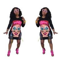 ingrosso abiti stampati divertenti-Simpatico cartone animato Ragazze Stampato Abiti Donna Divertente Design Casual Abito allentato Plus Size Abbigliamento Donna