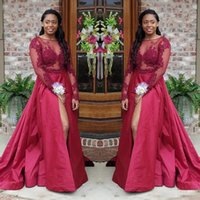 Wholesale short sleeve taffeta bridesmaid dresses for sale - Group buy Dark Red Sheer Long Sleeves Prom Dresses A Line Appliques South African Arabic Split Evening Gowns Bridesmaid Dress