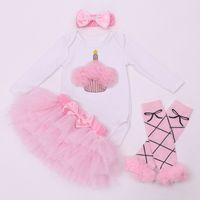 Wholesale long sleeve bodysuit 3t - Baby Girl bodysuit set long Sleeve romper tops princess Tutu Skirt pink Headband 4PCS Outfit baby birthday suits Set flower skirt