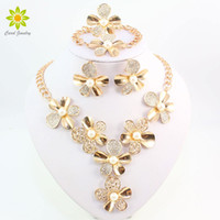 Wholesale Pearl Jade Flower Earrings - whole saleSimulated Pearl Jewelry Sets For Women Crystal Necklace Earrings Set African Beads Gold Color Flower Wedding Dress Accessories