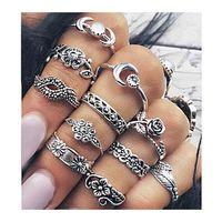 Wholesale Celtic Pendant Silver Knot - 11 Pcs Set Women Fashion Ring Joint Rings Retro Diamond Combination Ancient Silver gold Rings Knot Palm Pendant Ring Fashion Jewelry