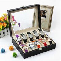 Wholesale mans watch holders online - 10 Grid Wrist Watch Box Professional Display Black Pu Leather Man Woman Jewelry Storage Holder Organizer Case Home Decor kp bb