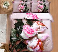 conjunto de consolador de rosa negra venda por atacado-Óleo 3D ativado pintura rosa conjuntos de cama tulipa negra rei queen size consolador conjunto lençol de cama colcha capa de edredão roupas de cama