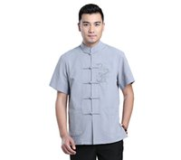 Wholesale dragon tang suit for sale - Group buy Shanghai Story Dragon Embroidery Chinese Traditional Kung Fu Tops Short Sleeve Tang Suit Clothing For Men Blend Linen Chinese Shirt