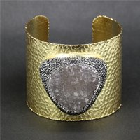Wholesale Cuff Leather Bracelet Stones - whole sale1pc Pave Rhinestone Natural Druzy Stone Snakeskin Leather Cuff Bangles Bracelets Jewelry Finding for Women A-0093