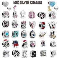 Wholesale Mix Alloy Crystal Charm Bead silver plated Beads At Least Different Style For Pandora Bracelet Necklace Free ship DHL