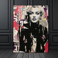Wholesale marilyn monroe canvas prints resale online - Wall Art Picture Handpainted HD Print Marilyn Monroe Portrait Art oil painting High Quality Home Decor On Canvas Multi Sizes p151