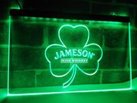 ingrosso pitture di alcol-LE215- Jameson Whisky Shamrock LED Luce al neon Iscriviti artigianato arredamento casa