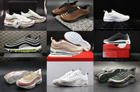 Wholesale Womens Flat Leather Shoes - 2018 With Box Mens and Womens 97 Running Shoes Undefeated Black White Skepta Snakeskin for Men Sports Shoes Hiking Walking Sneakers