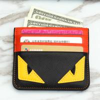 bancaria tarjeta de crédito al por mayor-Diseñador Titular de la tarjeta titular de la tarjeta de crédito de cuero Spoof Pequeño Monster Clip Bank Bag para hombre titular de la tarjeta Super delgado billetera 5 estilos