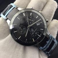 pulseira relógio militar venda por atacado-Nova Moda Masculina de Aço Inoxidável Analógico Quartz Relógio de Pulso Pulseira Mens Relógios Top Marca de Luxo Relógio Data Relógio Militar Esportes Cronógrafo