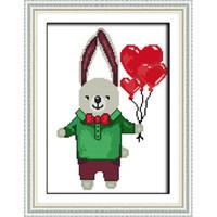 12x16 baskılar toptan satış-Baskılı Tavşan Baba Aşk Balon Çapraz dikiş Seti El Yapımı Nakış İğne Karikatür Animasyon Çocuklar Yatak Odası Needlecraft