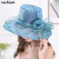 Wholesale wedding hats for men - vachiam Elegant Fashion Women Church Hats For Ladie Flower Hat Summer Gorras Sun Hat Wedding Kentucky Derby Wide Brim Beach