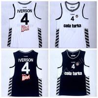 Wholesale allen sports - New Style Men #4 Allen Iverson Besiktas Cola Turka Basketball Jerseys of Turkey Turkish Black Team White Away Stitched Sports Uniforms Sale