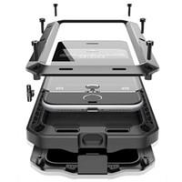 metall aluminium iphone 5c fall großhandel-R-Just Luxus Doom Rüstung Duty Shock Leben-wasserdichte Metall Aluminium Phone Cases für iPhone 8 X 7 SE 4 4S 5 5C 5S 6 6S Plus Glas